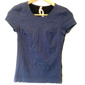 Bailey 44 | navy and black lacy shirt